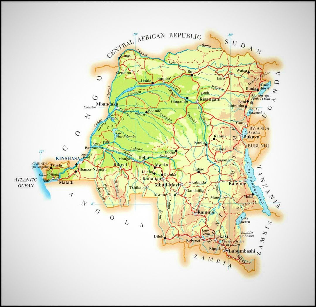 Congo democratic republic of the congo map Democratic Republic of