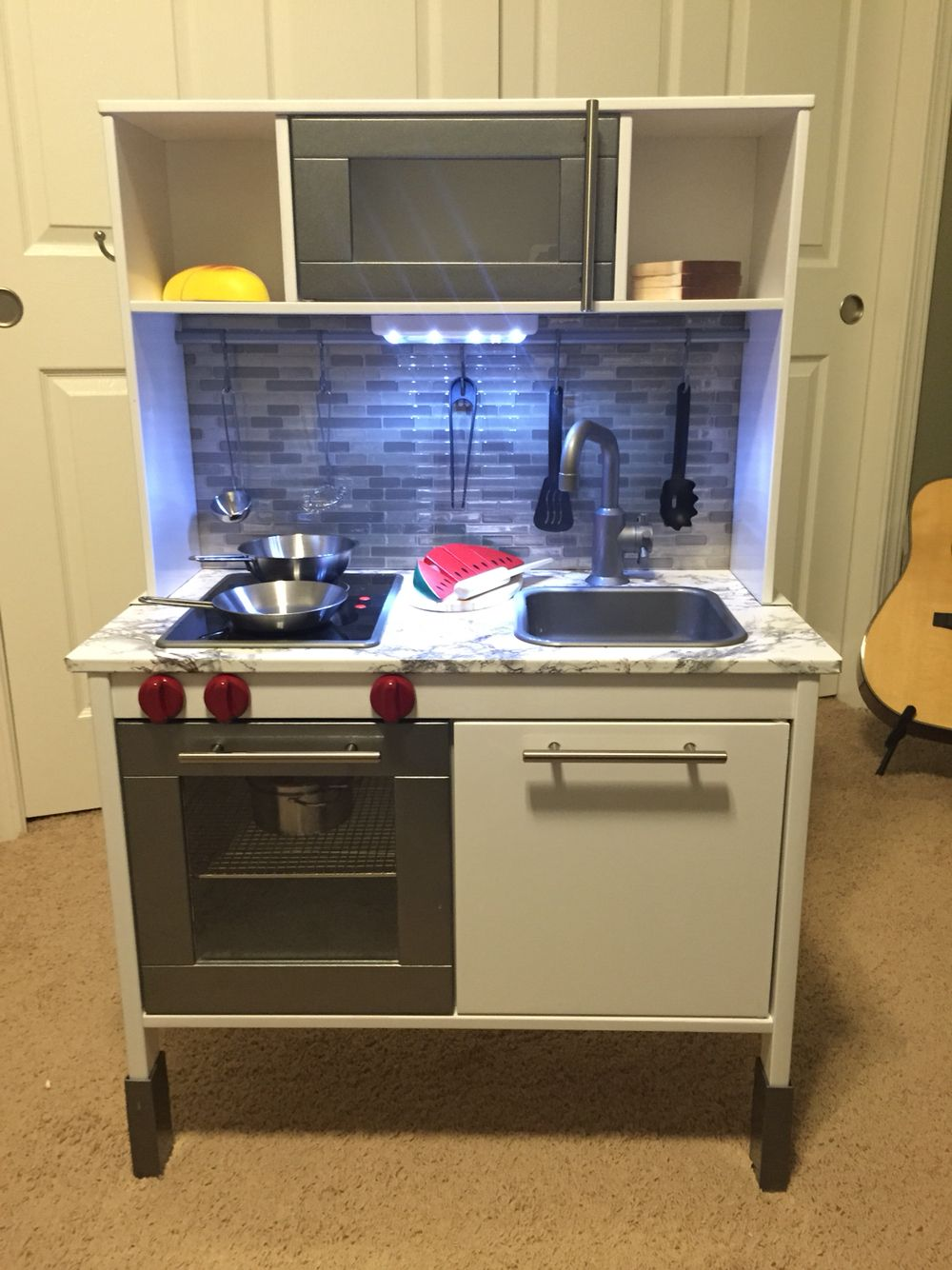Ikea duktig play kitchen hack kids 39 stuff pinterest for Play kitchen set ikea