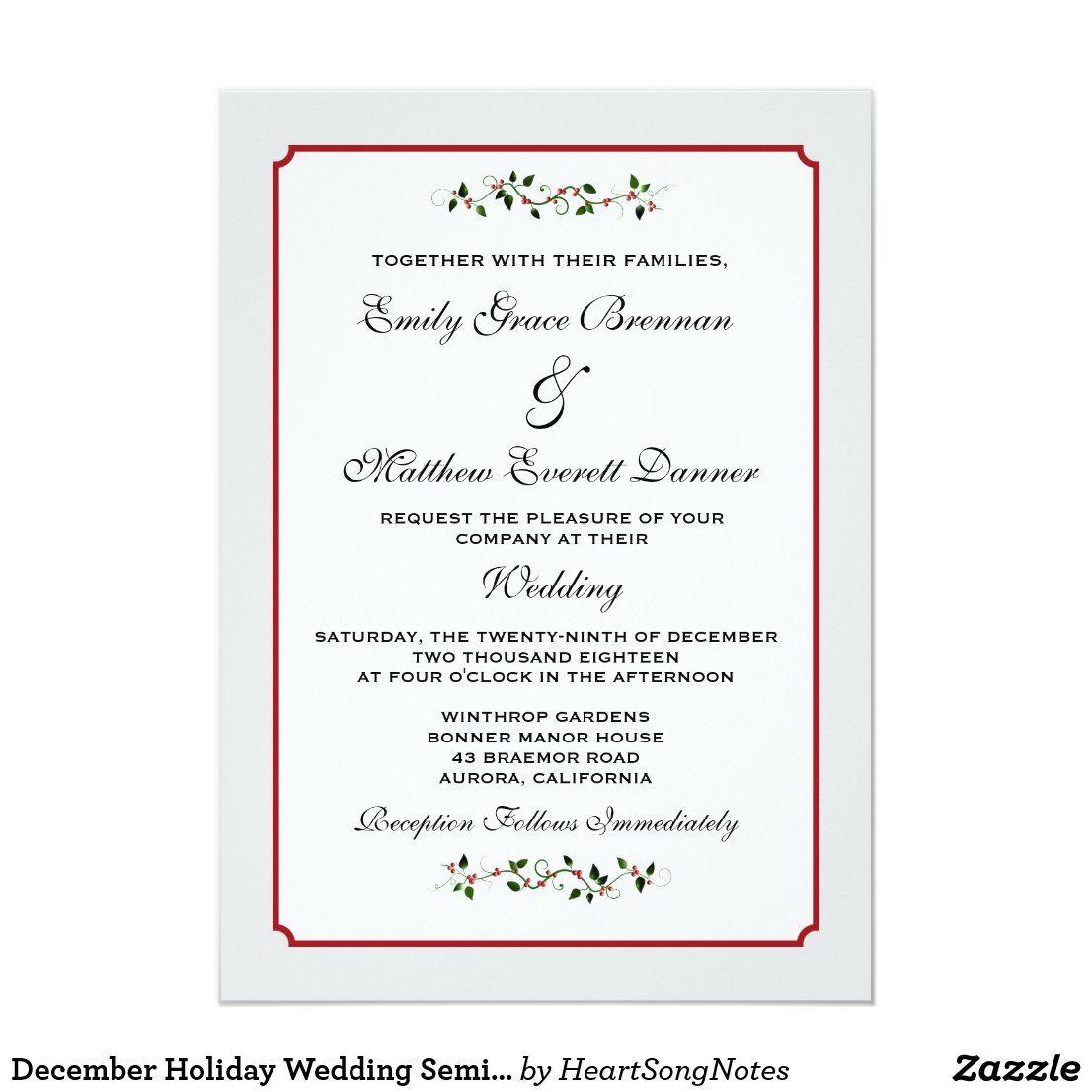 Formal christmas wedding invitations