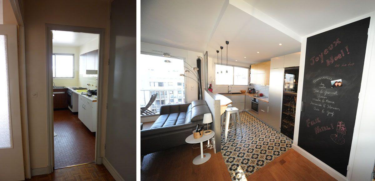 R novation d 39 un appartement avec une cuisine ouverte sur for Idee cuisine ouverte sur sejour