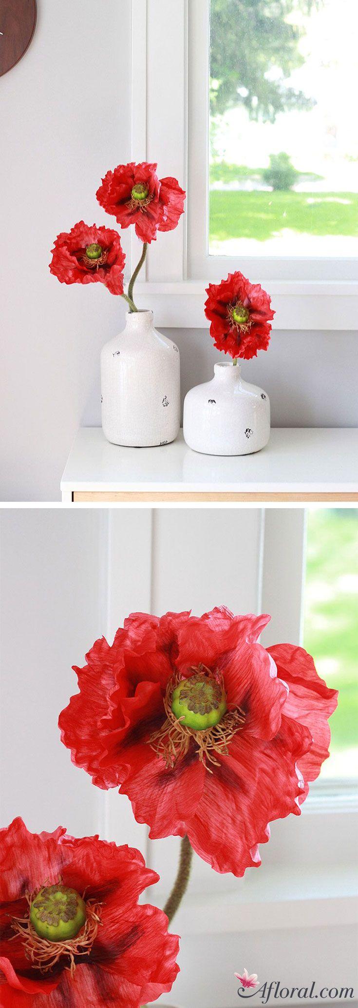 Oversized Poppy Silk Wildflower Stem In Red295 Wildflowers Silk