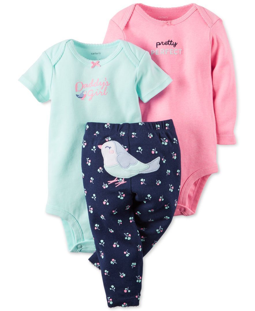 d017e6cb69 Carter s Baby Girls  3-Piece Bodysuit   Bird Pants Set