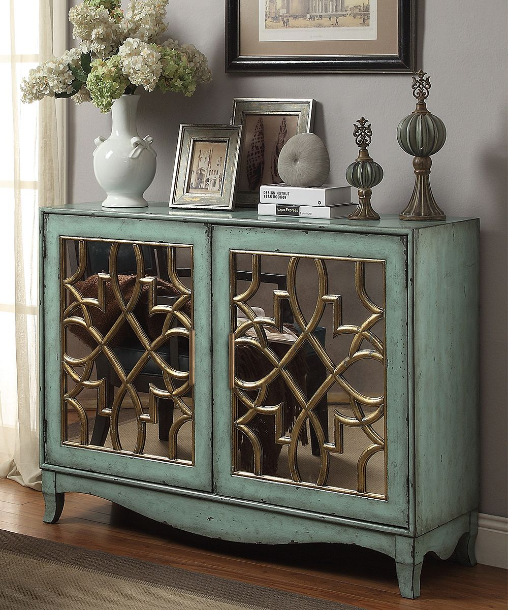 Aged Turquoise Two-Door Cabinet