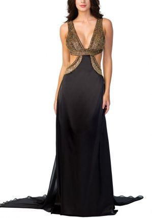 Black n gold party dress