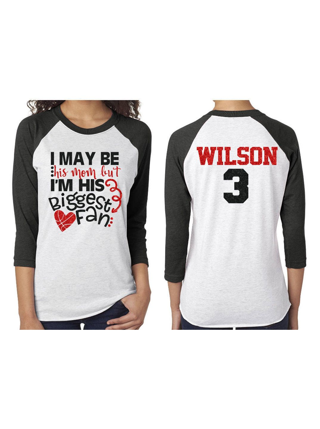 389a9e7e Glitter I May be his Mom but I'm his Biggest Fan Baseball Shirt|Customized  3/4 Sleeve Raglan by GavinsAllyeDesigns on Etsy