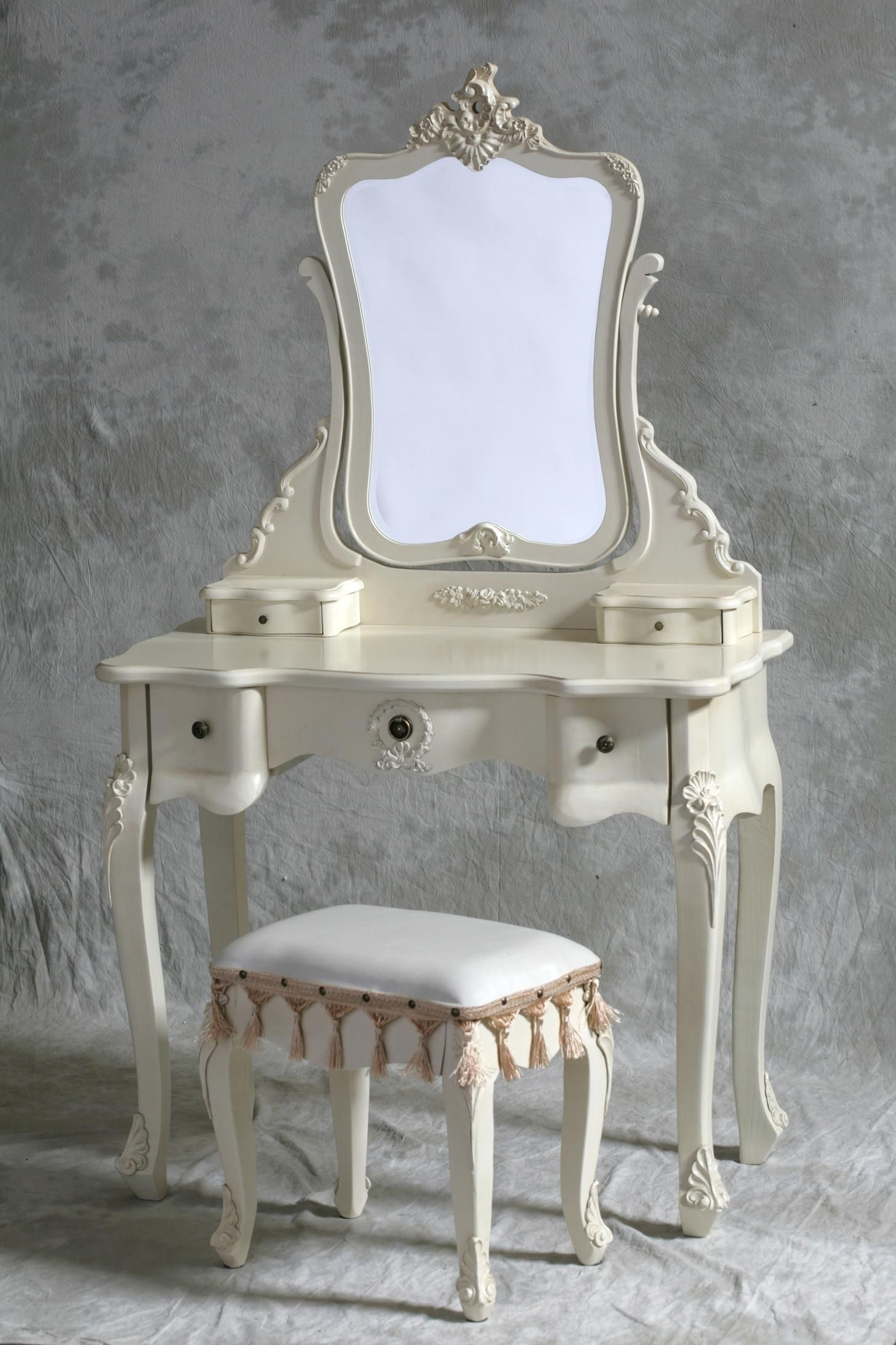 Excellent White Wooden French Style Dressing Table Mirror And Stool Set As  Well As 5 Drawers As Inspiring Makeup Vanities In Gray Bedroom Decors Ideas