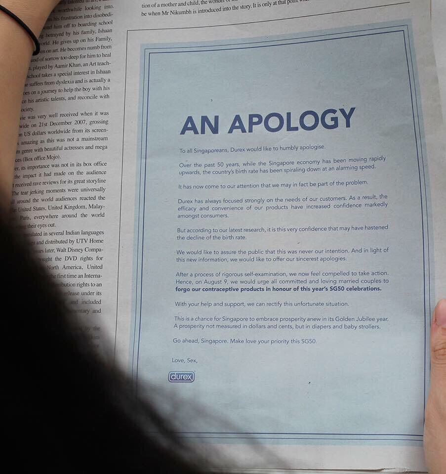 Durex Issues An Apology In The Papers  Asks Users To Forego Their
