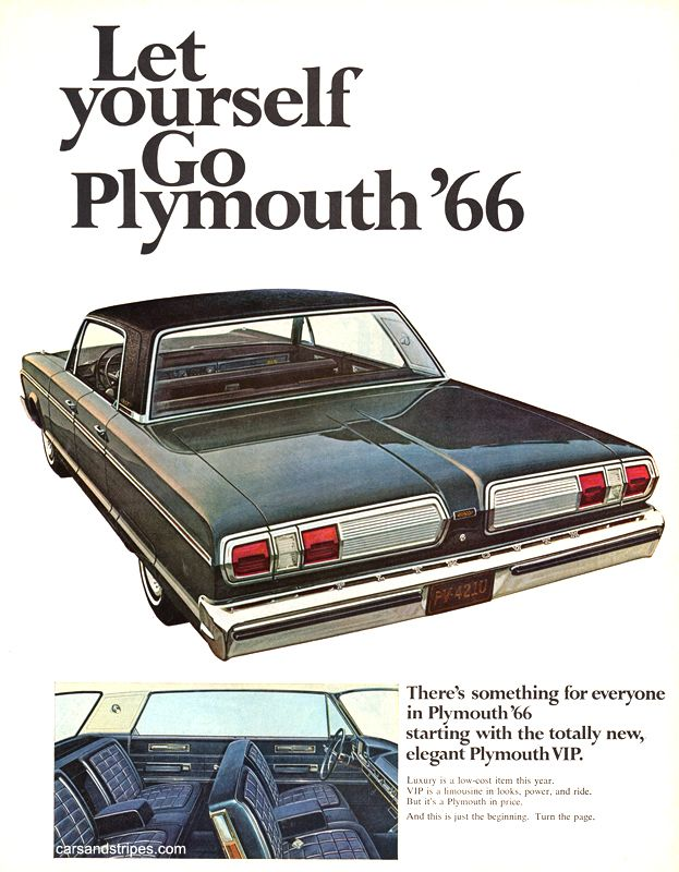 1966 Plymouth VIP - There\'s something for everyone - Original Ad ...