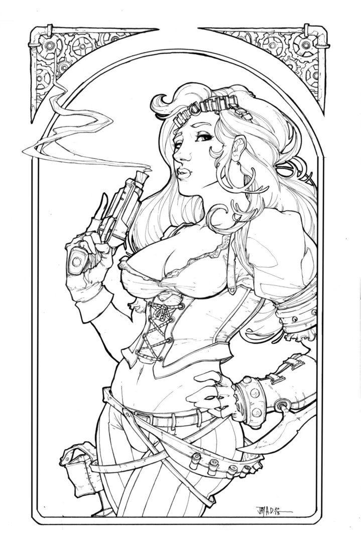 Cazadora Zombie Hunter By Harpokrates On Deviantart Steampunk Coloring Warrior Princess Xena Warrior Princess