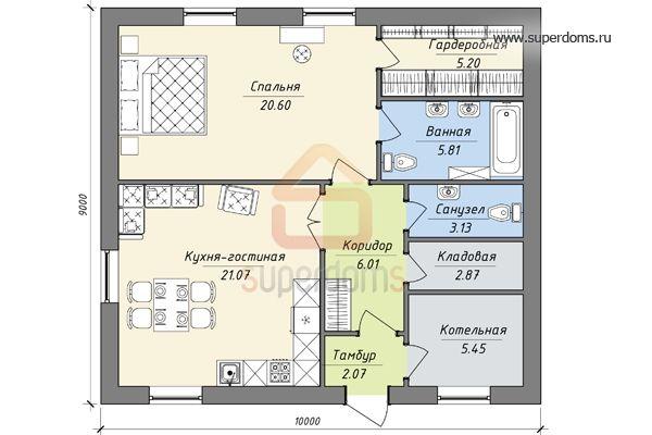 Проект дома 10 на 12: один и два этажа, планировки
