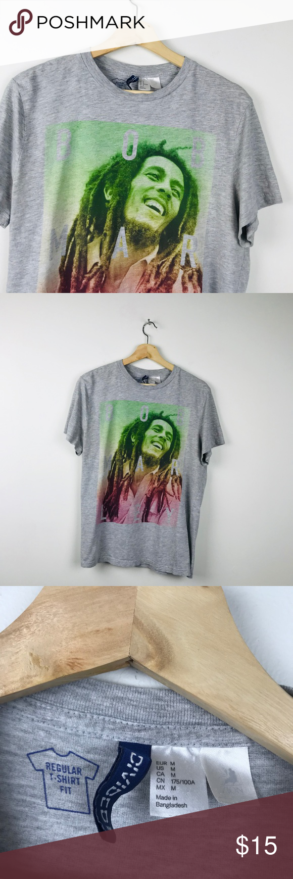 Bob Marley Rasta Short Sleeve Graphic Tee M Graphic Tees Tees Short Sleeve