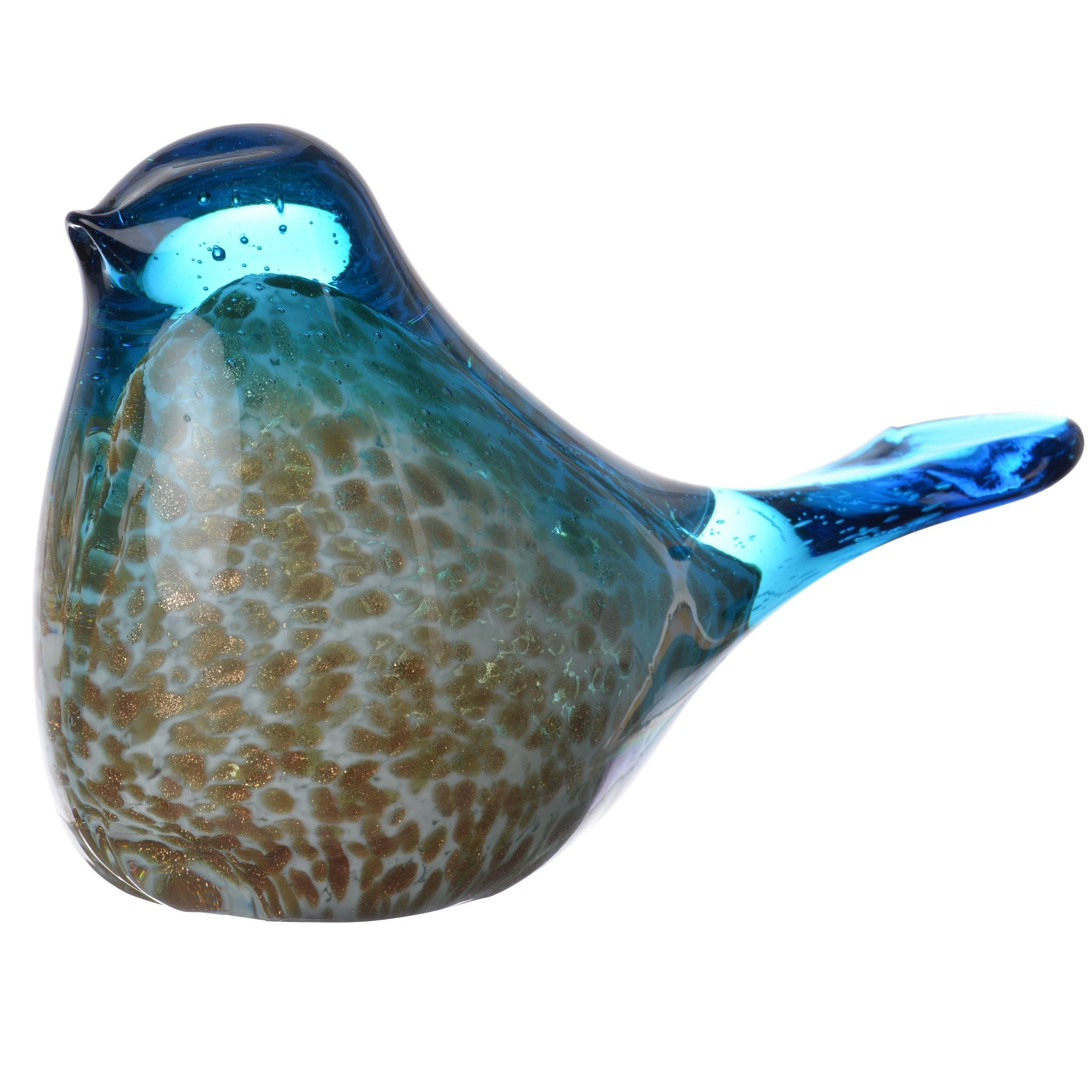 Blue And Gold Tone Gl Bird Figurine Decor Multi