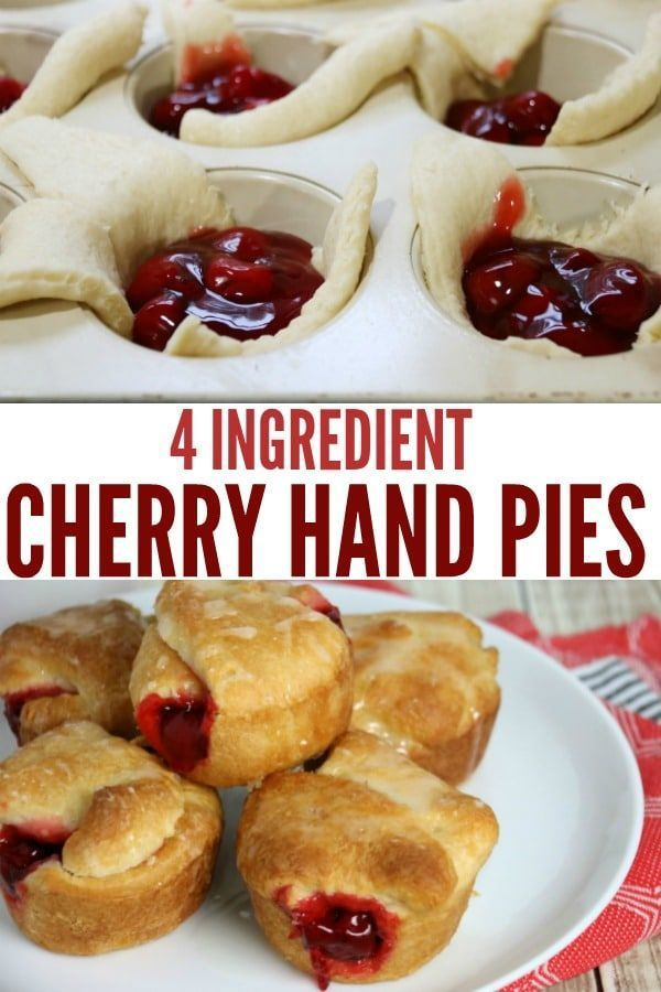 Four Ingredient Cherry Hand Pies - the easiest dessert you ll ever make. Just 4 ... - Food amp; Dri
