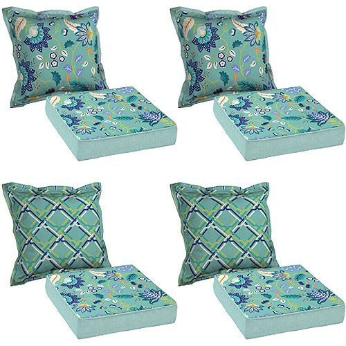 Better Homes & Garden 8-Piece Cushion Set, Aqua: Patio & Outdoor Decor - Better Homes & Garden 8-Piece Cushion Set, Aqua: Patio & Outdoor