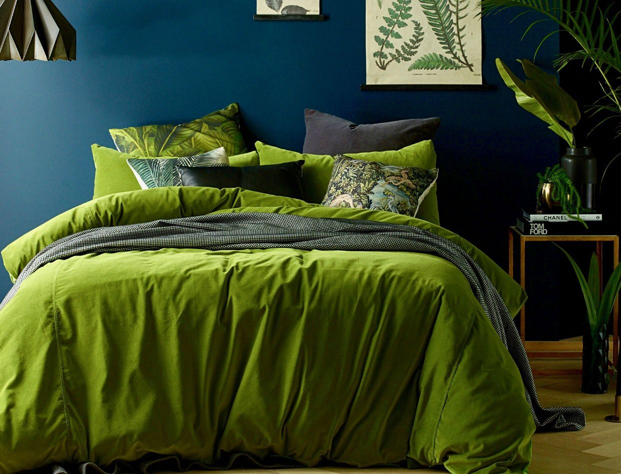 Moss Green Cotton Velvet Comforter With Palm Trees Black