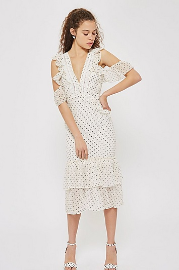 new specials undefeated x super cheap Spot Print Cold Shoulder Pencil Dress by Hope & Ivy | Dresses ...