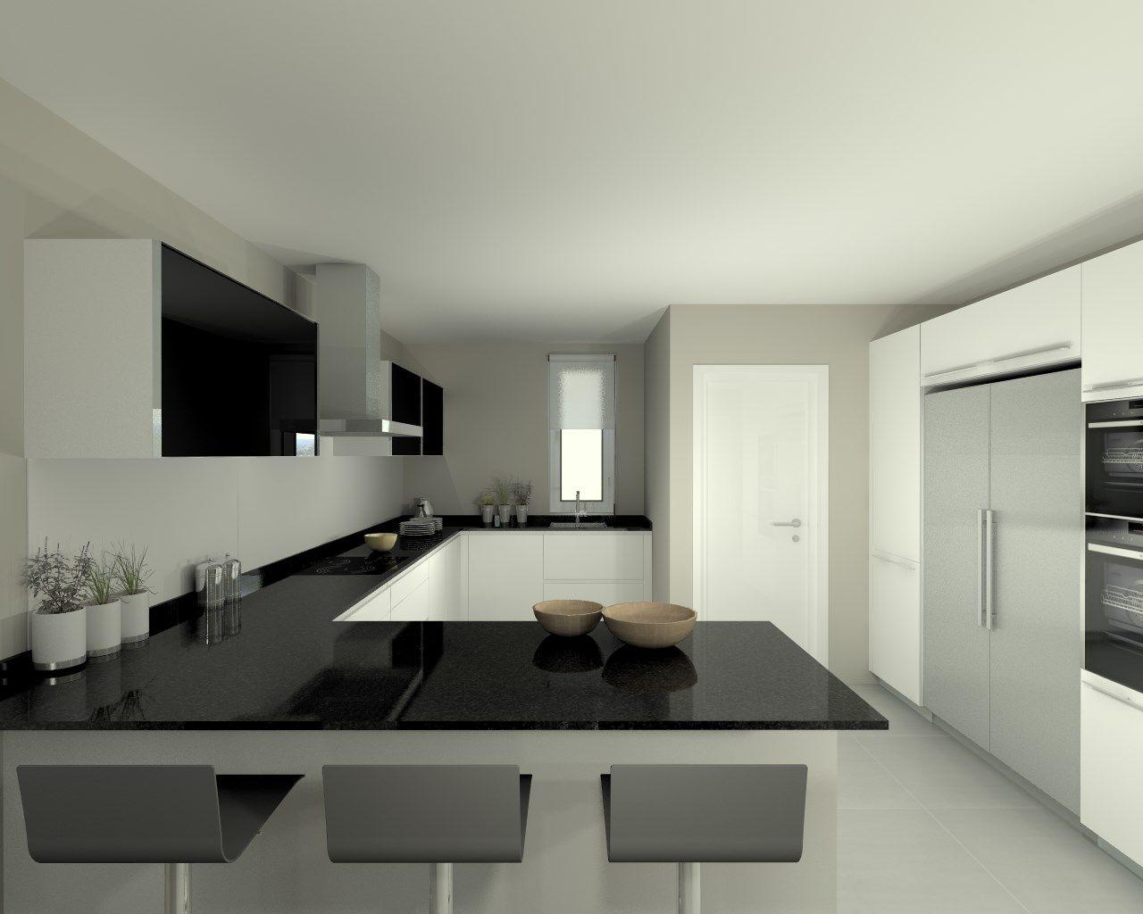 Modelo line e blanco encimera granito negro cocinas for Modelo de cocina con barra