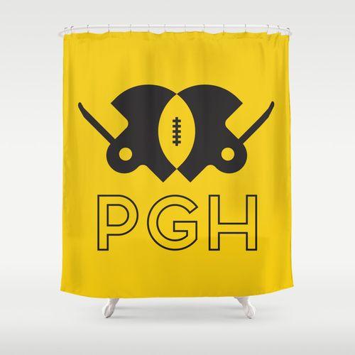 Pittsburgh Football Shower Curtain By John Trivelli Society6 Pittsburgh Football Curtains Shower