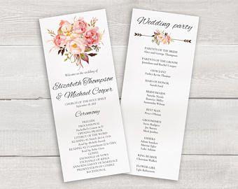 floral wedding program template whimsical wedding ceremony program