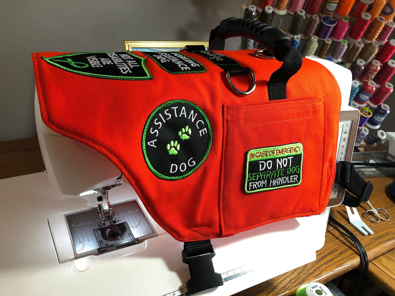 Custom Made Service Dog Vest. 2 Pockets. 7 Embroidered