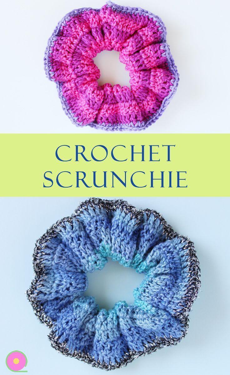 Crochet an easy scrunchie hair band - Knit & Crochet Blog