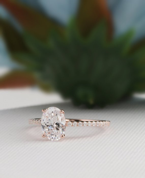 Oval Morganite Ring 14K Solid Rose Gold Oval 0.75Ct Peach Morganite Art Deco Halo Simulated Diamond Promise Engagement Wedding Ring
