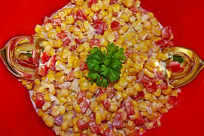 Maissalat mit rotem Paprika und Sauerrahmdressing 3
