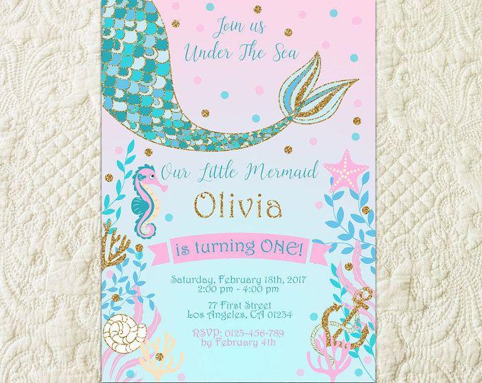 mermaid birthday theme invitation diy
