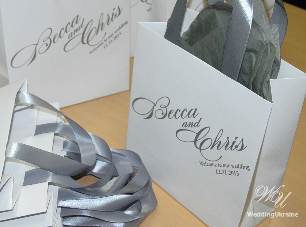 Wedding Welcome Bags With Silver Satin Ribbon And Names Elegant