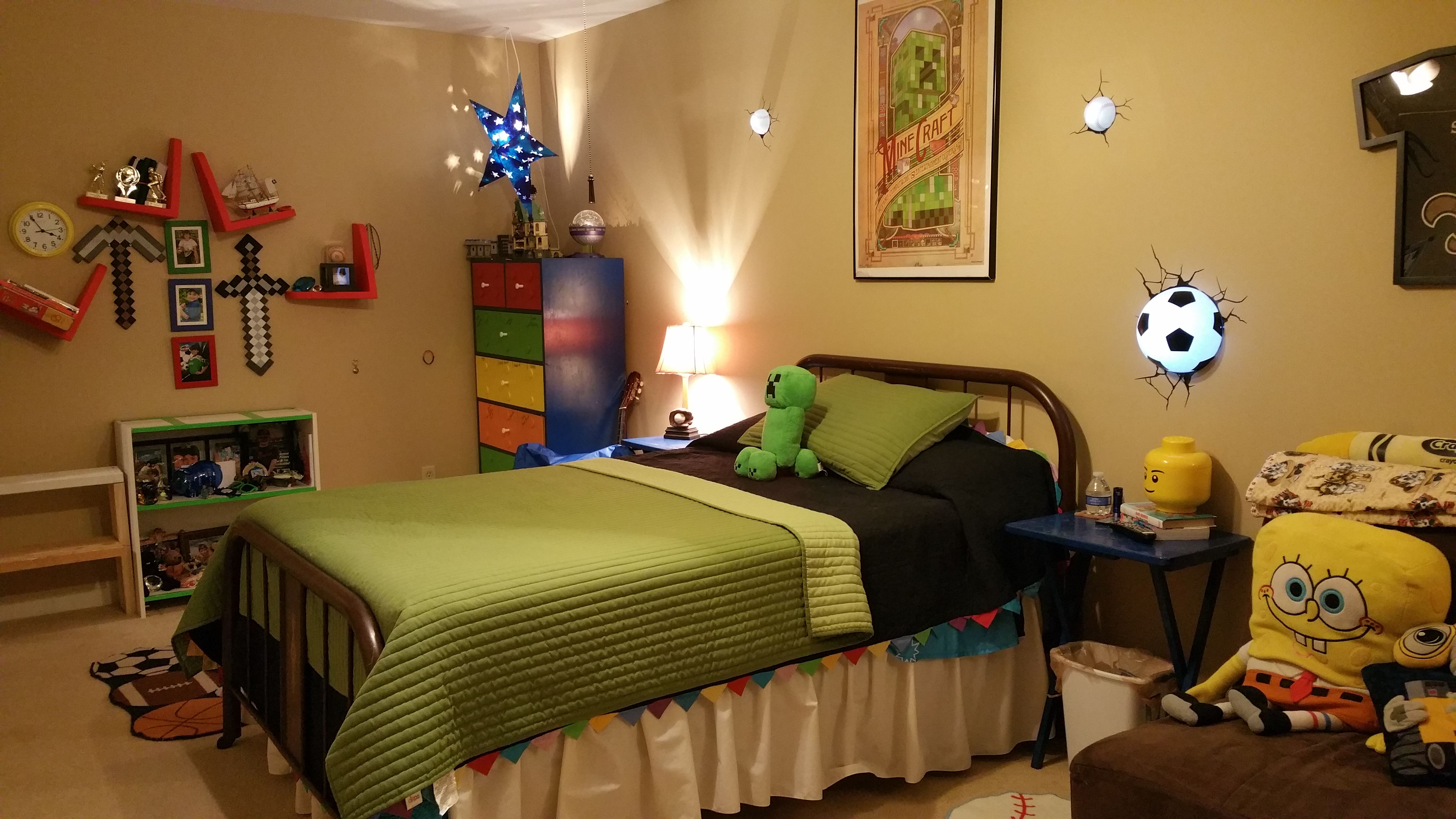 10 year old boys room with sports and minecraft theme | My ...