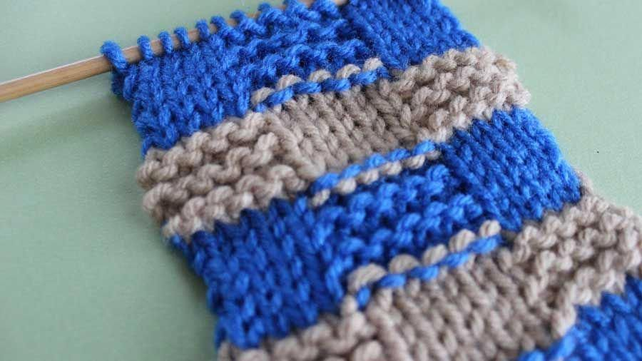 Garter Checkerboard Knit Stitch Pattern With Stripes How To Remove