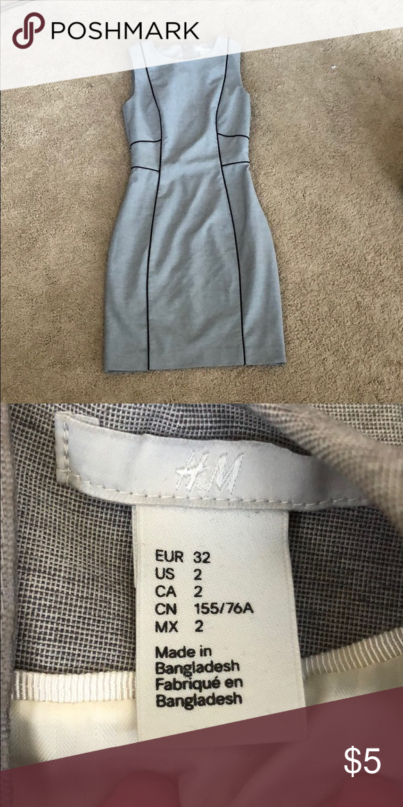 ff3773969c858 H&M work dress Very good condition. Grey color and not a whole lot of  stretch. Size 2 which is really like a size 00 Dresses Midi