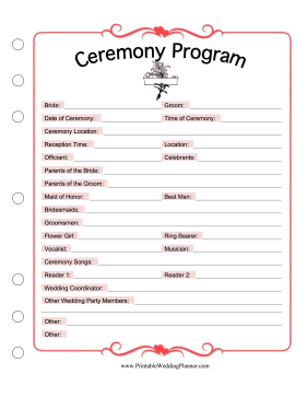 Use This Printable Ceremony Program As A Template To List The