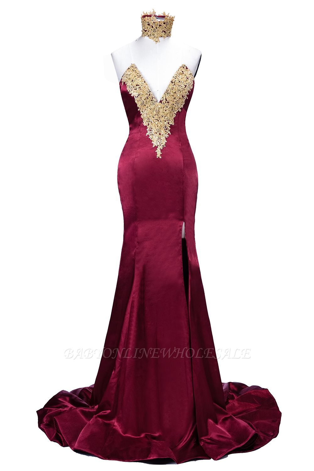 Theresia mermaid high neck frontsplit burgundy lace appliques