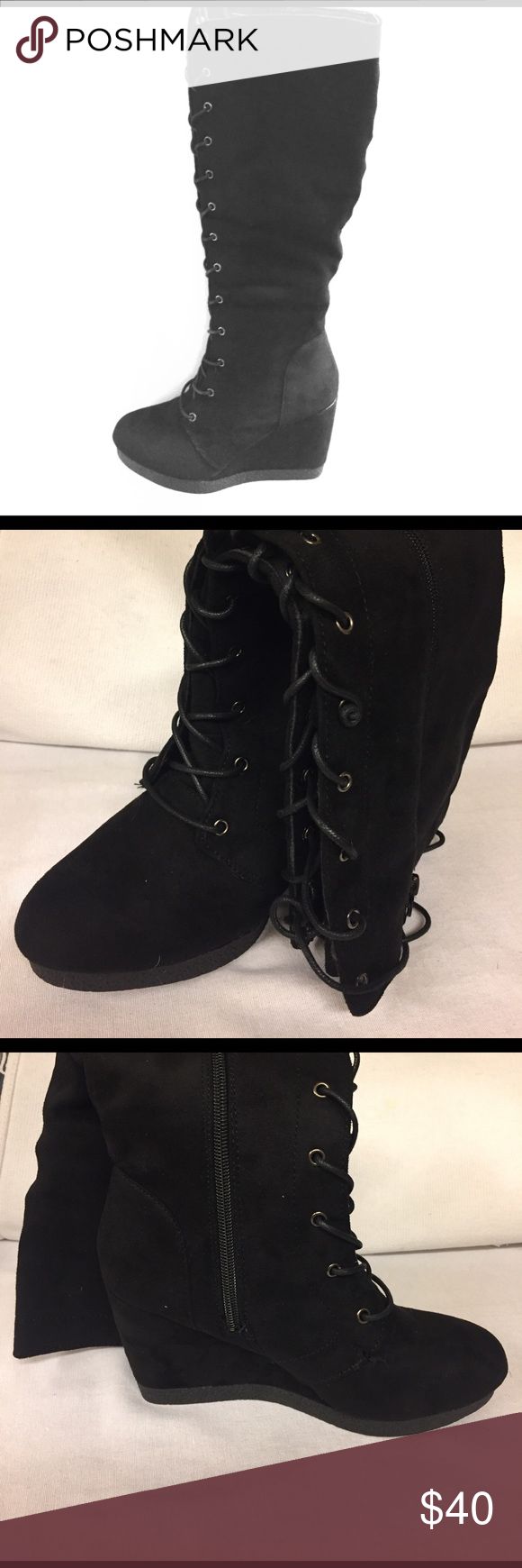 Brand New black lace up wedge boots! Brand new lace up/zippered wedge boots in all black.  Khali wedge boot in size 7; these are knee high. Shoes Lace Up Boots