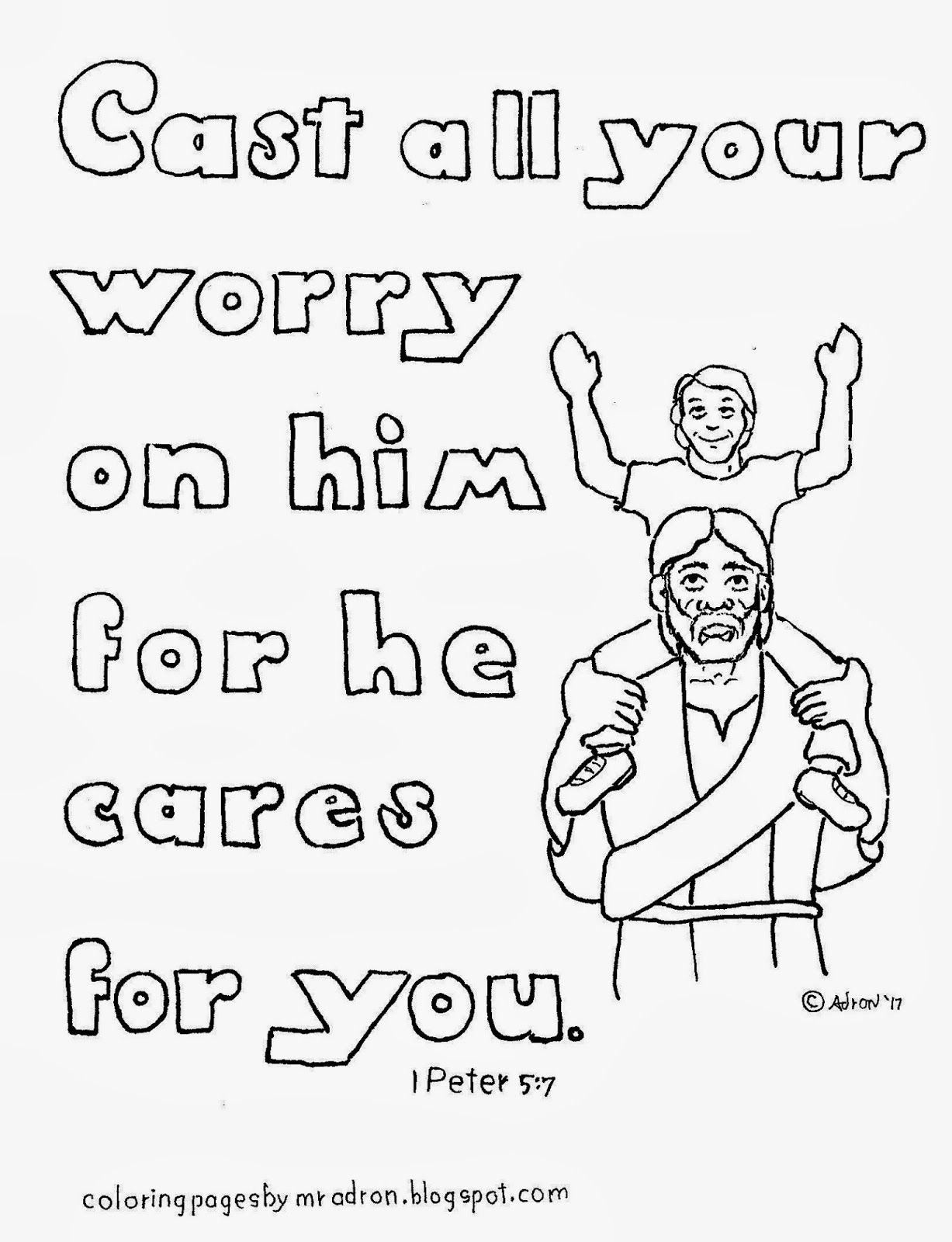 Coloring Pages For Kids By Mr Adron Cast Your Worry On Him 1 Peter 57 Free Co