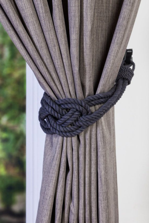Charcoal Cotton Rope Carrick Bend Knot Curtain Tie Backs Large