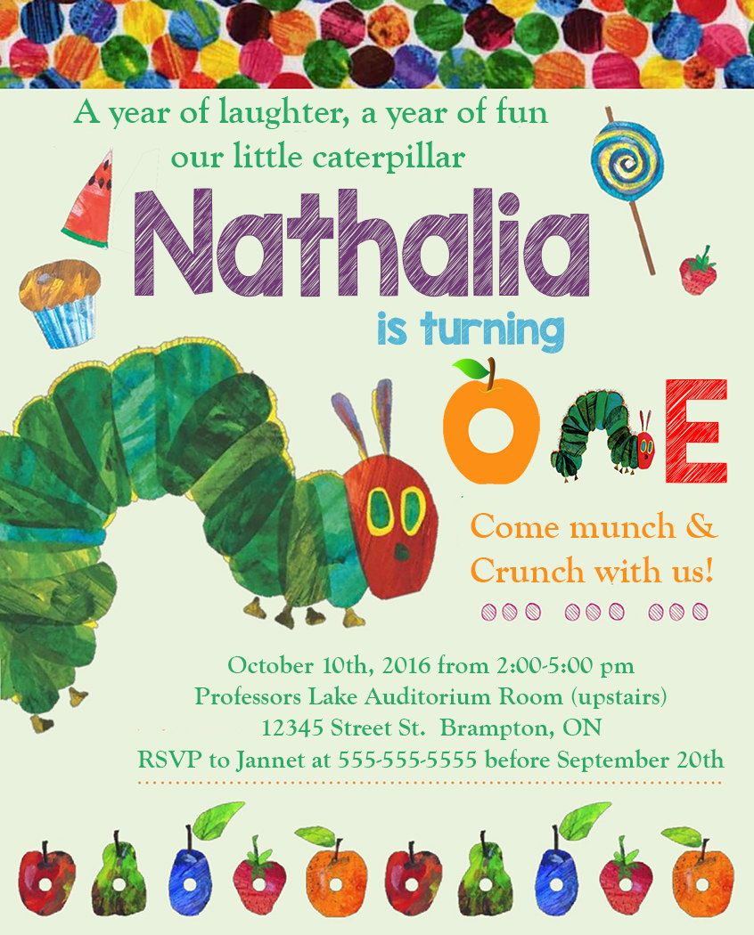 The Very Hungry Caterpillar Birthday Party Photo Invitations ...