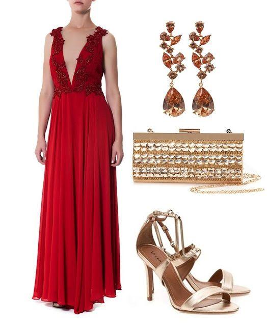 Bolsa Dourada Com Vestido Vermelho : Vestido de festa vermelho madrinhas casamento