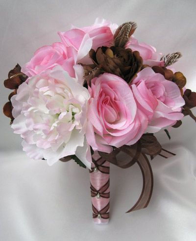 Pink Brown Wedding Flowers Bridal Bouquet Wedding Flowers Bouquets