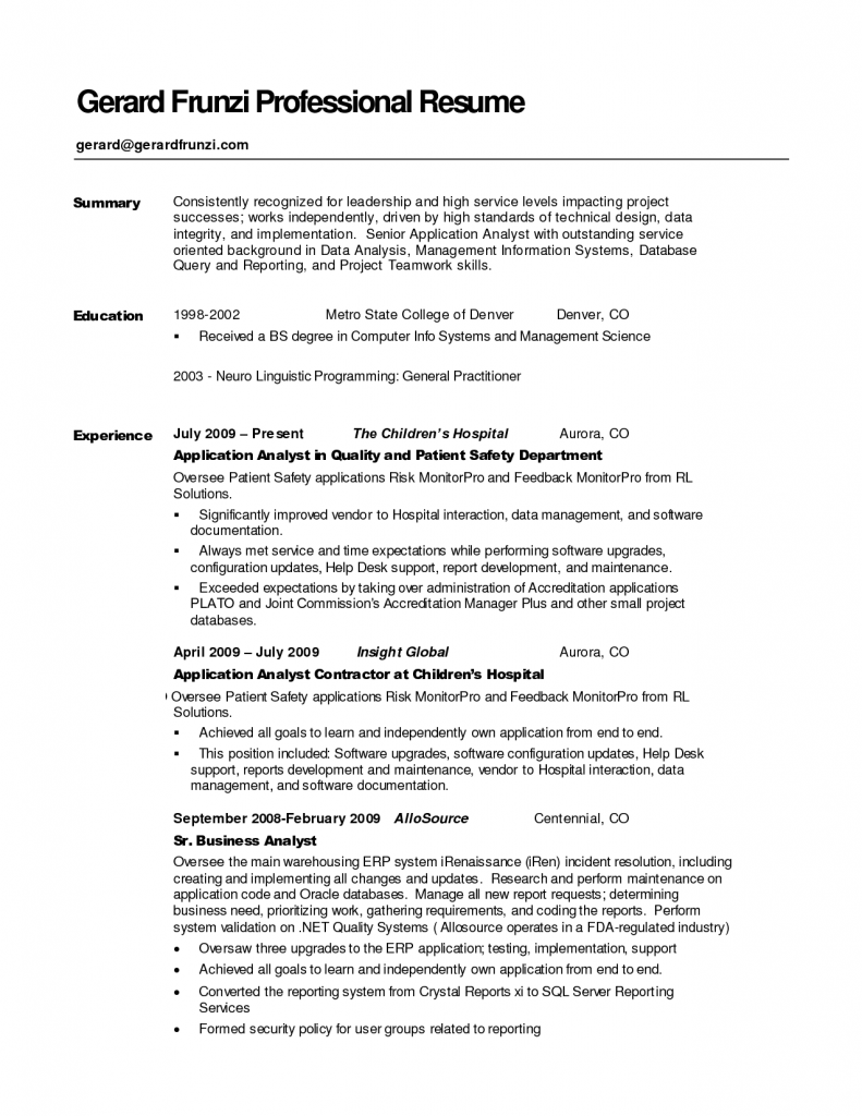 Example Summary Resumes Template Resume Sample Qualifications