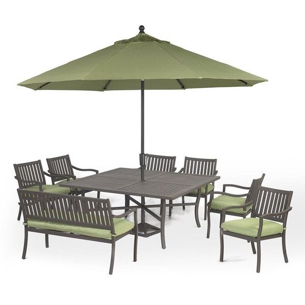 Madison Outdoor Patio Furniture, 8 Piece Dining Set (Square Table, 6 Dining  Chairs