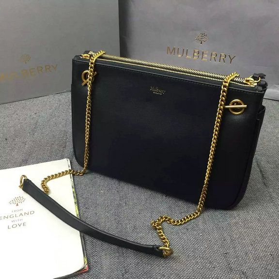 5741d9f21aeb 2016 A W Mulberry Winsley Shoulder Bag in Black Smooth Calf Leather ...