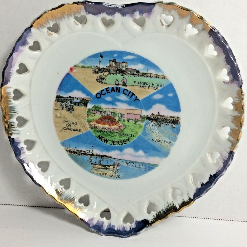 Vintage Decorative Reticulated Ocean City Nj Ocnj Wall Souvenir Plate Ocean City Nj Ocean City Souvenir Plates
