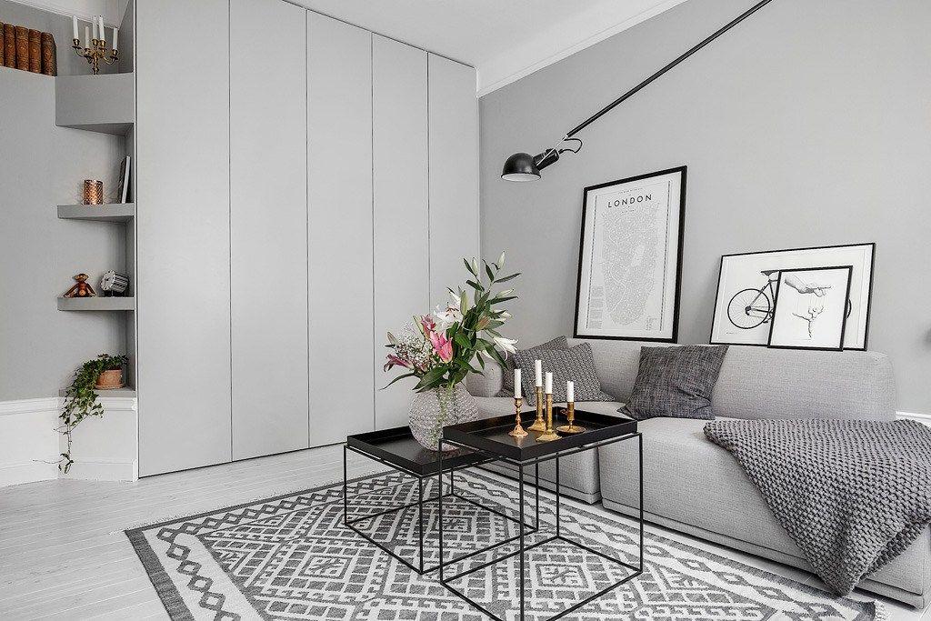Piso pequeño con paredes grises cuartos Pinterest Paredes - decoracion de espacios pequeos