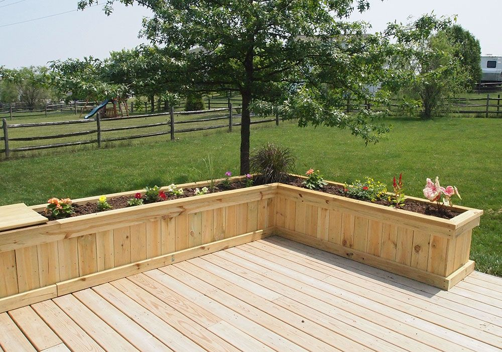 deck with exterior planter boxes
