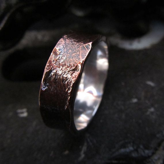 Mens wedding band textured ring copper silver valentines personalized steampunk engagement made to order design 016 on Etsy, $198.00