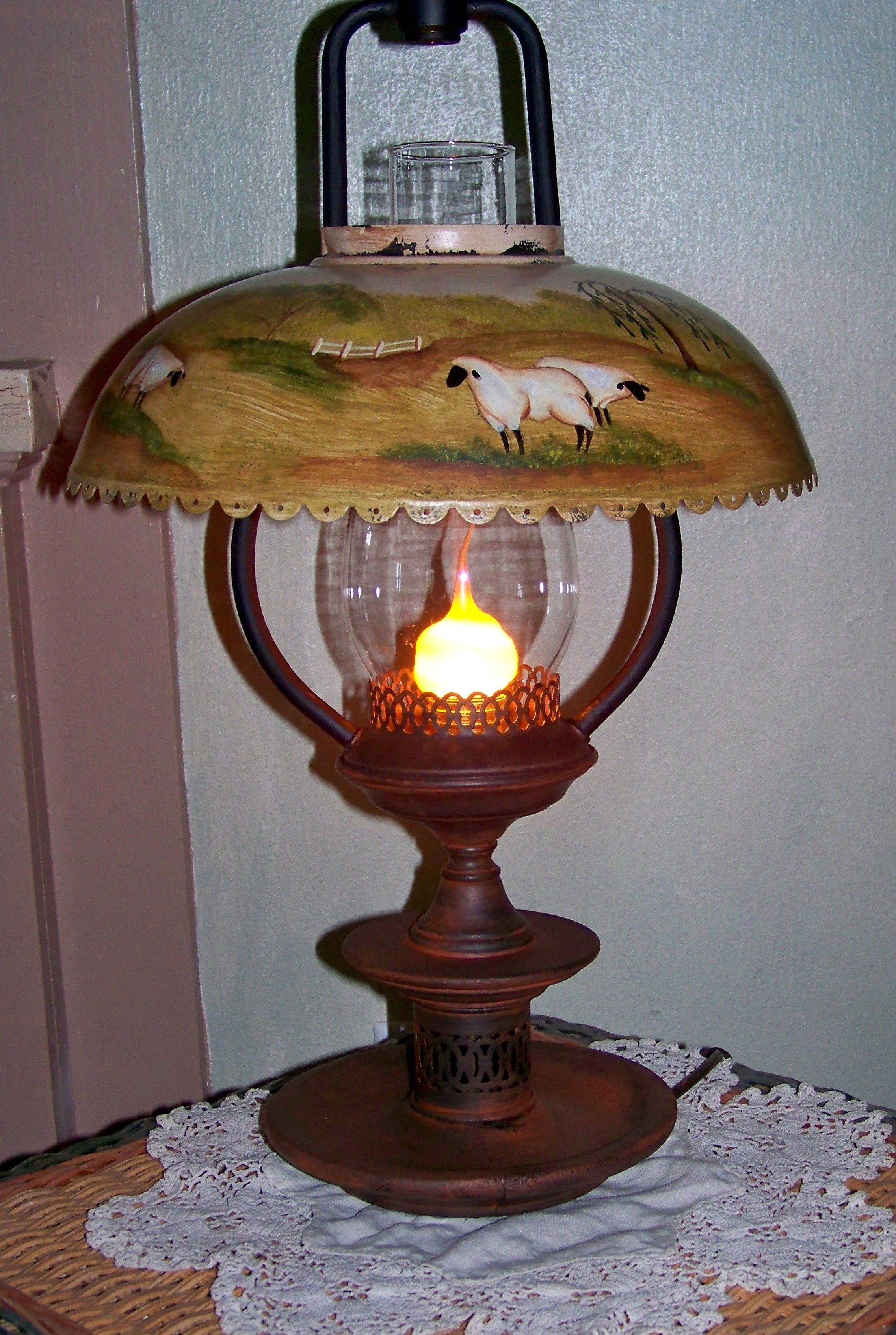 I Enjoy Finding Old Lamps That Need Tlc This Lamp Needed Painting Wiring Light Fixtures And Re Painted The Entire Than A Scene On Shade Added