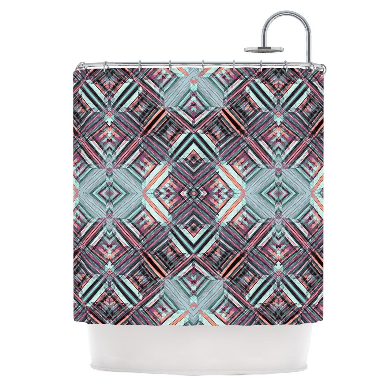 Gabriela Fuente Watercolor Caledoscope Purple Teal Shower Curtain