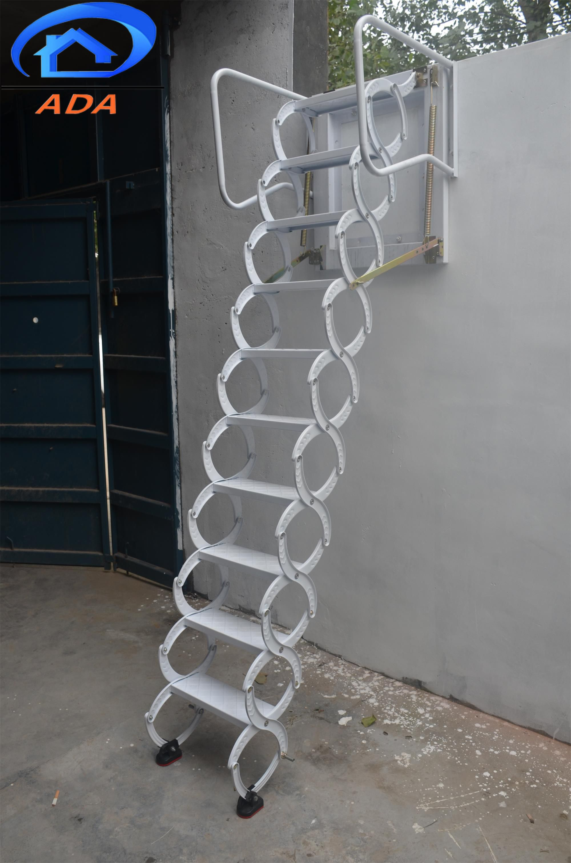 Outdoor Drop Down Wall Mounted Ladder Folding Attic Stairs Attic Stairs Wall Ladders
